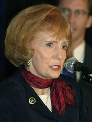 Arizona Gov. Jane Hull, pictured Feb. 22, 2000, speaking at a press conference in Phoenix, endorsed then Texas Gov. George W. Bush over Arizona Sen. John McCain to be the GOP candidate in the 2000 presidential election.