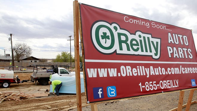 An O'Reilly Auto Parts store is under construction at the southeast corner of U.S. Highway 64 and County Road 6536 in Kirtland.