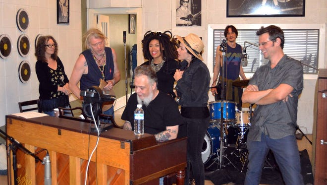 """A scene from last summer's recording session for """"Red Hot: A Memphis Celebration of Sun Records."""""""