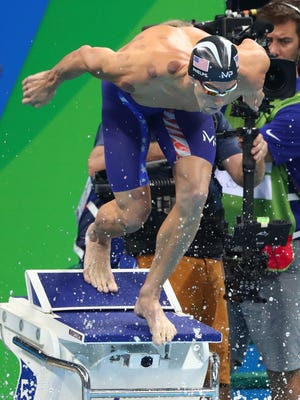 Michael Phelps (USA) during the men's 4x100 freestyle relay final in the Rio 2016 Summer Olympic Games at Olympic Aquatics Stadium.