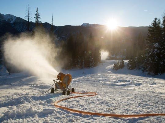Crews work to make snow at Purgatory Resort in Durango, Colo. Snow making started on Oct. 23.