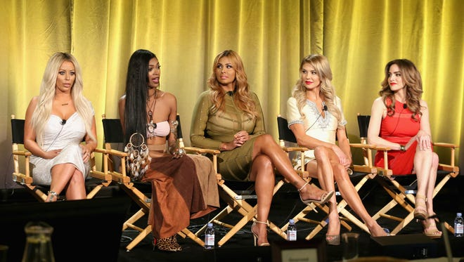 (L-R) TV personalities Aubrey O'Day, Jessica White, Somaya Reece, Brandi Glanville and Dr. Darcy Sterling speak onstage during the 'Famously Single' panel at the 2016 NBCUniversal Summer Press Day at Four Seasons Hotel Westlake Village on April 1, 2016 in Westlake Village, California.