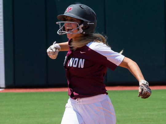 Vernon's Jade Guzman celebrates after hitting a double during the 11th inning of the 4A state semifinal game at McCombs Field in Austin on Thursday, May 31, 2018.