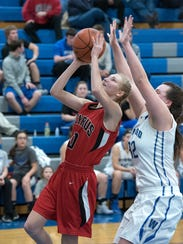Bucyrus' Brooklyn Spears attempts a layup.