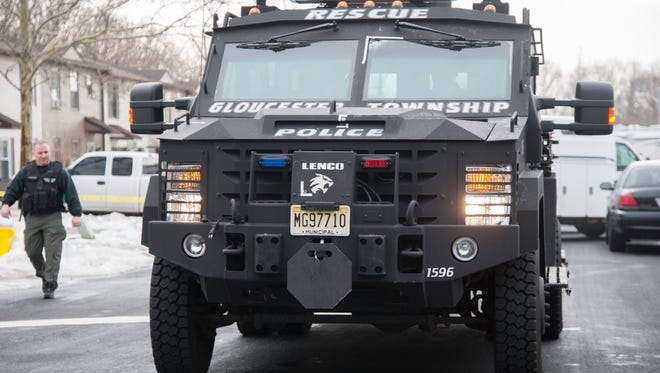 A Gloucester Township Police armored vehicle was struck by gunfire from a 24-year-old man who was barricaded inside a Gloucester Township home.  The man was deceased when police found him after entering the home and ending the standoff Thursday morning.