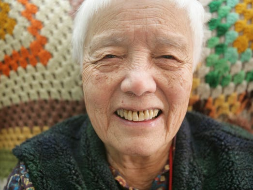 Grace Lee Boggs, 90,  of Detroit has her portrait taken