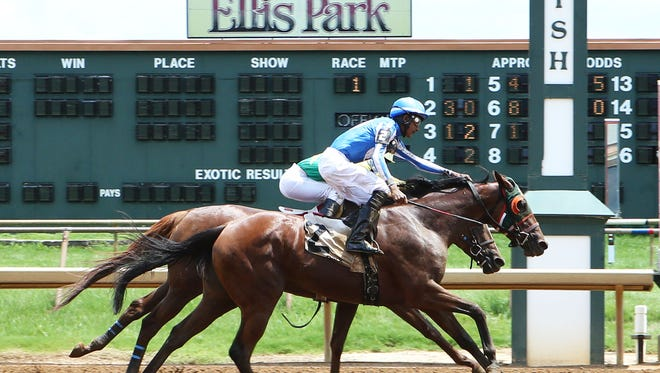 Apprentice Arturo Aparicio earns his first win in the U.S. aboard National Girl ($64.2) last Sunday at Ellis Park.
