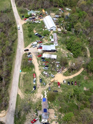 An aerial view of 4077 Union Hill Rd. (top) and 4091 Union Hill Road, where four victims were found in two trailers in Pike County.