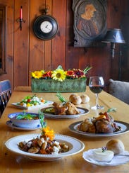 The table is set for harvest dining at the Golden Lamb