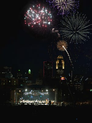 The Des Moines Symphony's Yankee Doodle Pops lights up the State Capitol grounds on July 2.
