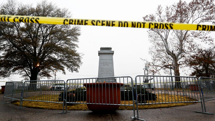The removed statue of Confederate President Jefferson