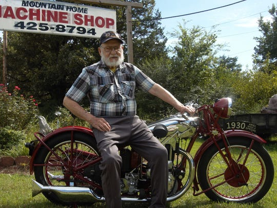Bob Davis of Mountain Home sits on his 1930 Ariel Model