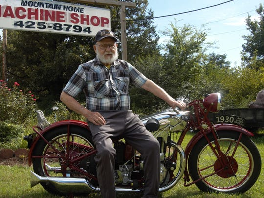 Bob Davis of Mountain Home sits on his 1930 Ariel Model G Special. Davis, a retired machinist, mechanic and builder, has restored everything from motorcycles to fighter planes.