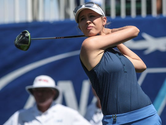 American Nelly Korda tees off on 1 during the 2nd round