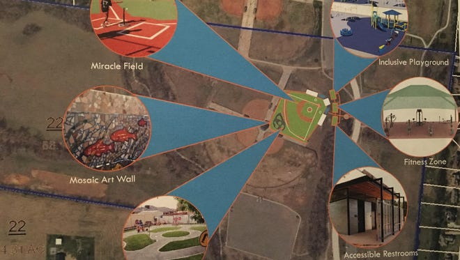 The proposed park includes a Miracle Field, pedal park, inclusive playground, accessible restrooms and more.
