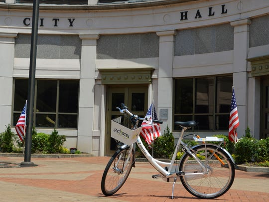 One of 20 bikes as part of the new bike sharing program is displayed at City Hall.