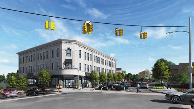 A rendering shows the proposed residential, retail and office building on Main at Commerce Road in downtown Milford.