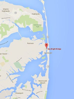 The location of the Sea Bright Bridge in coastal Monmouth County.