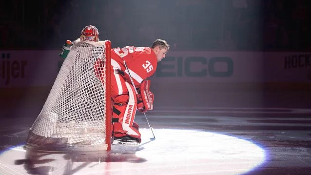 Detroit Red Wings goaltender Jimmy Howard in net before the game against the Washington Capitals at Little Caesars Arena, Jan. 6, 2019, in Detroit.