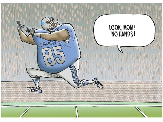 The winner of our sports cartoon caption contest on Lions TE Eric Ebron.