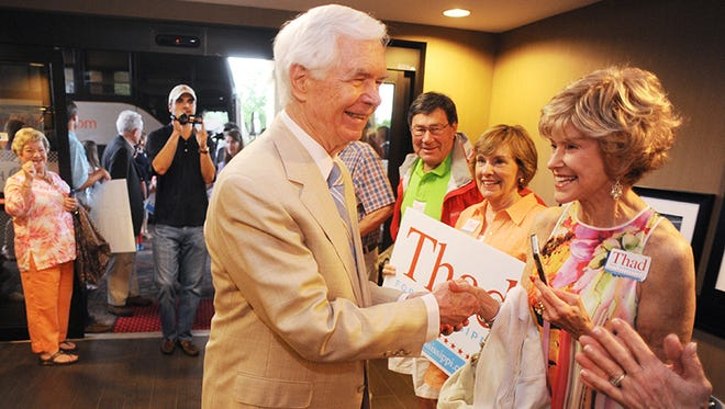 Sen. Thad Cochran, R.-Miss., greets supporters during a campaign stop in Oxford, Miss., on Friday, June 6, 2014.