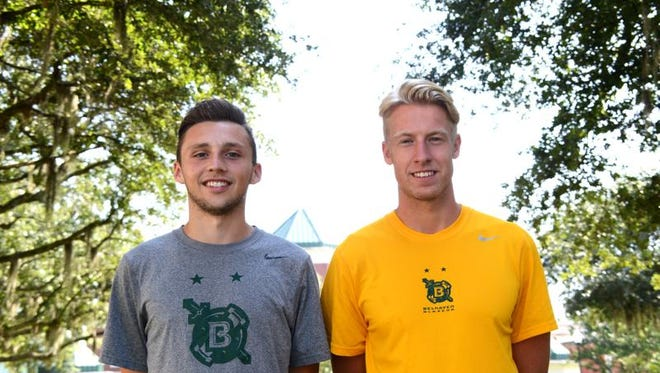 Scott Malcolm and Andrew West, natives of Scotland studying at Belhaven University in Jackson.