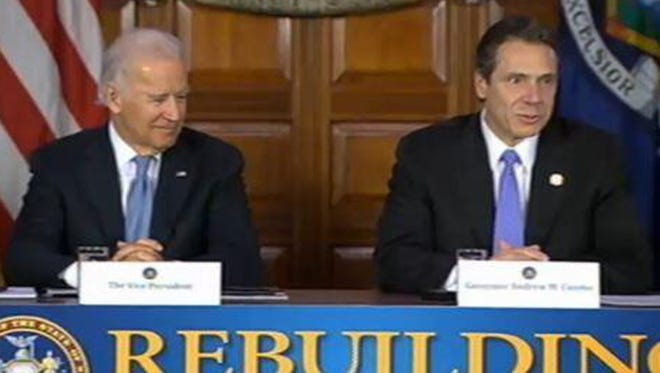 Vice President Joe Biden, left, and Gov. Andrew Cuomo in Albany on Tuesday.