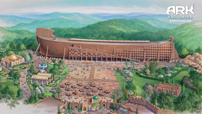 Artist's rendering of the Ark Encounter, a Noah's Ark-themed park planned for a site west of Interstate 75 near Williamstown, Ky., about 50 miles south of Cincinnati