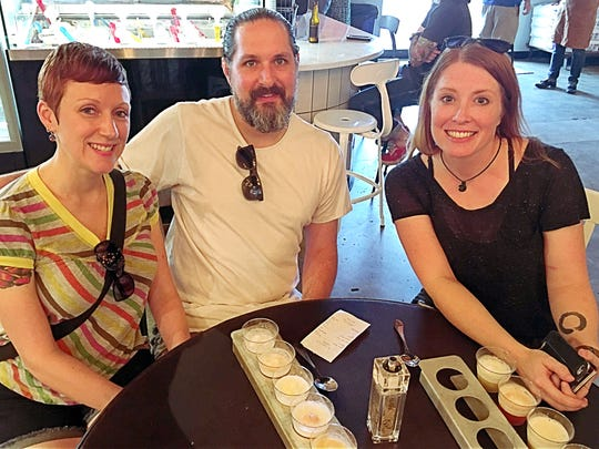 Roboto Gelato Michelle and Tommy Garrett got a firsthand explanation of the flight of Tin Man Brewing Co.'s beers paired with sorbet and gelato at Pangea Kitchen from Sara Oliver-Davidson. The pairings were served as a beer style float!