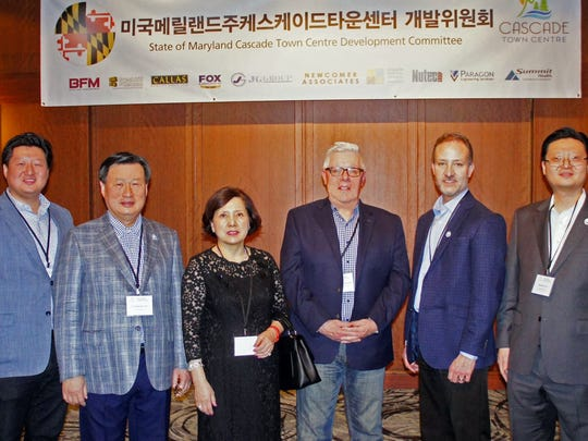 The Cascade Town Centre Food Industry Team are pictured at the Novotel Ambassador Seoul Gangnam, South Korea: From left, Joe Lee of JGBLI, JGBLI Chairman Gun Seon Lee, Junghee Lee of JGBLI, Gregg Thompson of Brechbill & Helman, Andy Shakely of Nutec Group and Wonro Lee of JGBLI.