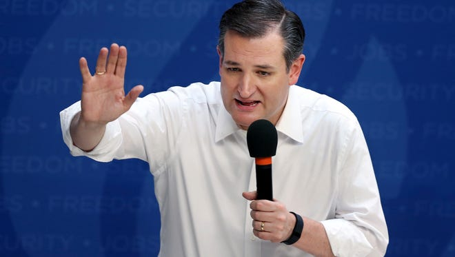 Republican presidential candidate Sen. Ted Cruz, R-Texas, speaks April 15, 2016, at a campaign rally in Syracuse, N.Y.