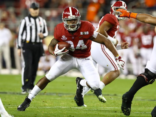 Jan 7, 2019; Santa Clara, CA, USA; Alabama Crimson Tide running back Damien Harris (34) runs with the ball against the Clemson Tigers during the 2019 College Football Playoff Championship game at Levi's Stadium. Mandatory Credit: Matthew Emmons-USA TODAY Sports