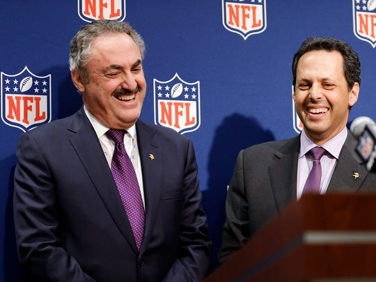 Zygi Wlf, left, and Mark Wilf, right, are in their 13th season as majority owners of the NFL's Minnesota Vikings. They've now joined the Nashville group looking to bring Major League Soccer to Nashville that is led by Nashville businessman John Ingram.
