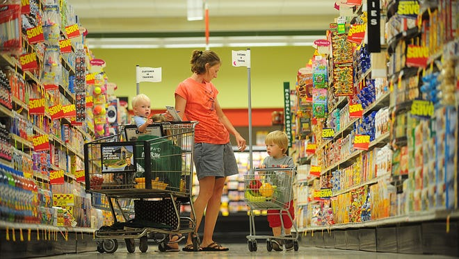 Shoppers in newly remodeled Marsh Supermarket at 1960 East Greyhound Pass in Westfield Thursday June 5, 2008. The remodeling cost more than $2 million.