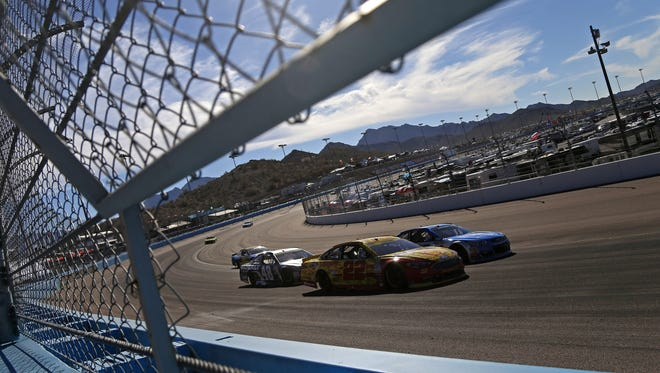 Joey Logano comes around turn four during the NASCAR Sprint Cup race at Phoenix International Raceway on November 13, 2016 in Avondale, Ariz.