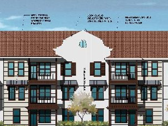 A rendering of an apartment building at Parkside Estero,