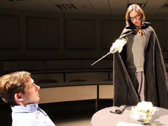 Nathan Lowe and Michala Huckabay, a junior, in a rehearsal