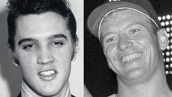 Elvis Presley (left) and Mickey Mantle