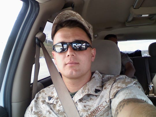 Cpl. Chad Oligschlaeger takes a selfie while returning from a substance abuse clinic to the Marine base in Twentynine Palms in May 2008. Later that month, Oligschlaeger would die of multiple drug toxicity, brought on by a mix of seven drugs, six of which were prescribed by the military for his post-traumatic stress disorder.