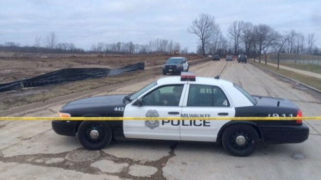 Milwaukee police are on the scene near where skeletal remains were found in the 9600 block of Allyn St.