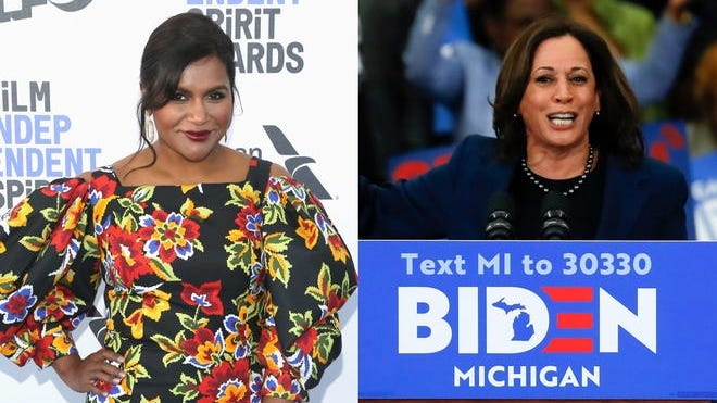 Mindy Kaling (left) was one of several entertainers to celebrate Sen. Kamala Harris becoming former Vice President Joe Biden's running mate.