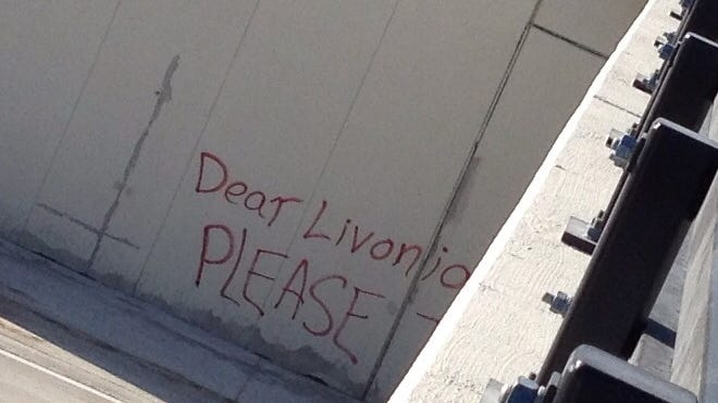 "The message reads, ""Dear Livonia, Please take Duggan back before he sells everything."""