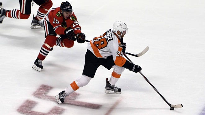 The Flyers' top power play unit, led by Claude Giroux, had a pair of goals Wednesday night.