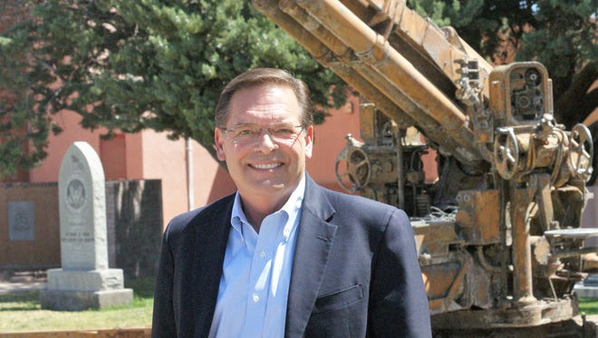 Monty Newman, a Republican candidate for the U.S. House of Representatives, visited Deming's Veterans Park in May.