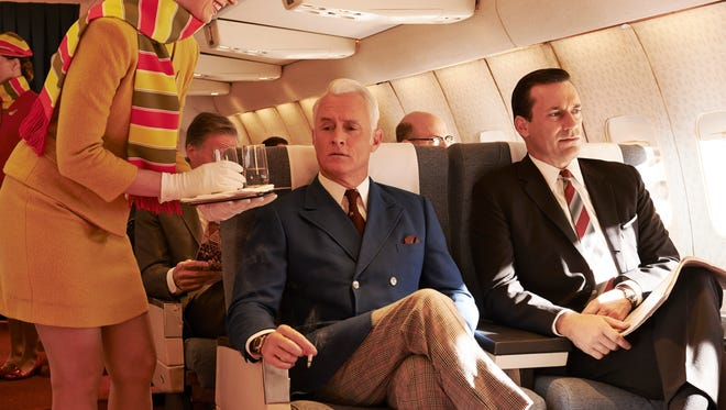 """Mad Men"" (starring John Slattery, left, and Jon Hamm) flies into the sunset with the final episodes of Season 7."