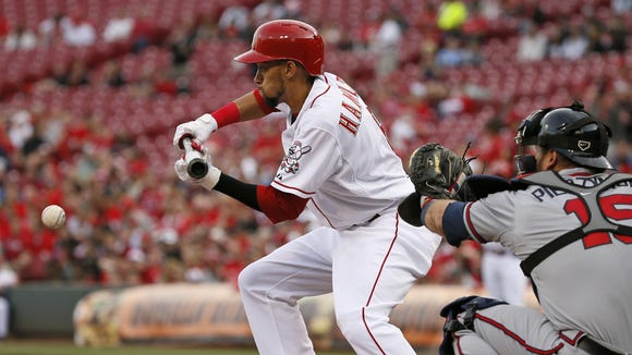 Reds center fielder Billy Hamilton had his first bunt single of the 2015 season during the first inning of Tuesday's game against the Braves.