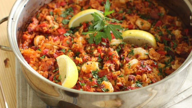 This May 18, 2015 photo shows shrimp and chorizo paella in Concord, N.H.