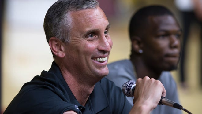 """ASU basketball coach Bobby Hurley answers questions, June 18, 2015, during a """"Fan Conference"""" at Wells Fargo Arena in Tempe."""
