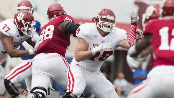 Jason Spriggs (center) and Indiana's deep, experienced offensive line should prove a strength for the Hoosiers this season.