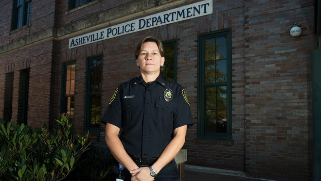 Asheville Police Chief Tammy Hooper stands for a picture in front of the police headquarters in downtown Asheville.